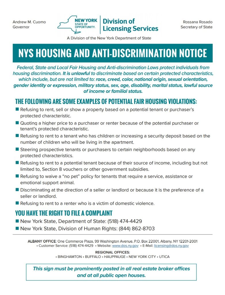 NYS Housing and Anti-Discrimination Notice of TESO Property Management in Middletown